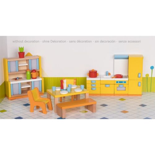 Set de 27 muebles de cocina para casa de muñecas, de Goki