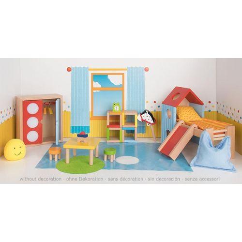 Set de 24 piezas de muebles de habitación infantil para casa de muñecas, de Goki