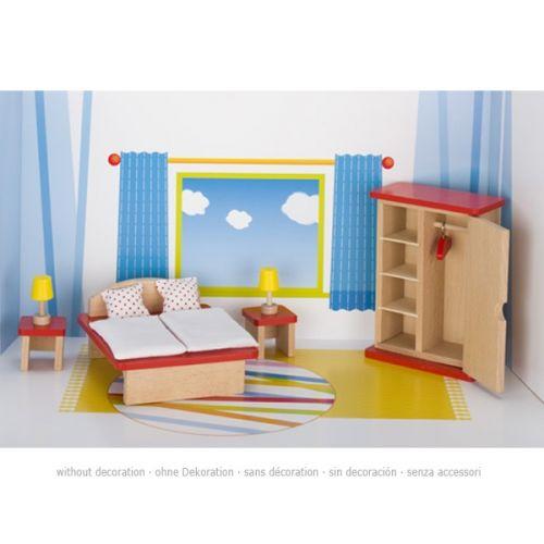 Set de muebles de dormitorio de madera de haya para casa de muñecas, de Goki
