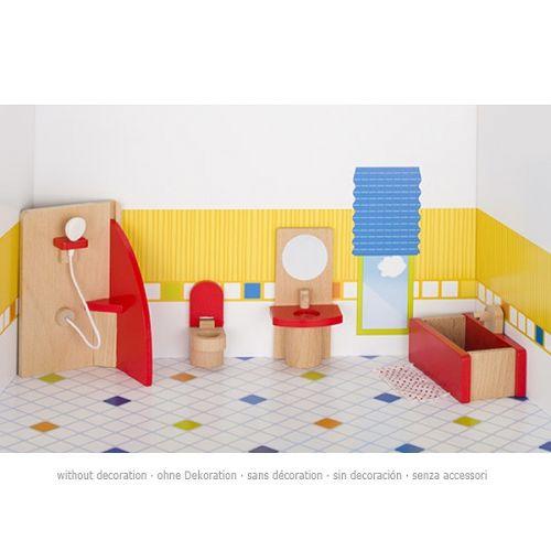 Set de 5 piezas de muebles de baño en madera de haya para casa de muñecas, de Goki