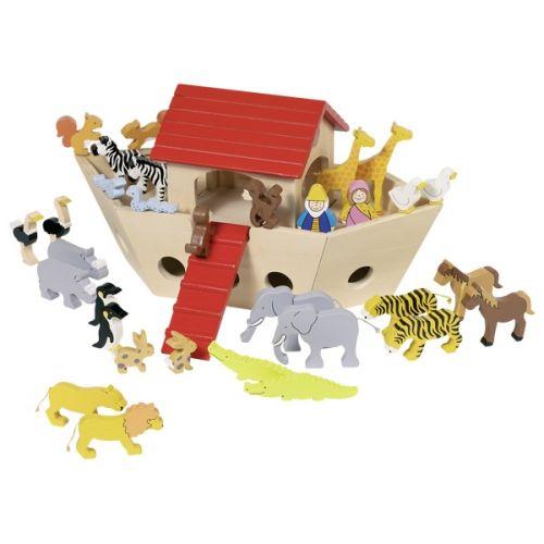 Arca de Noé con animales de madera, de Goki