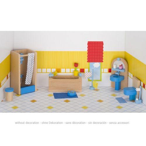 Set de 17 muebles de cuarto de baño para casa de muñecas, de Goki