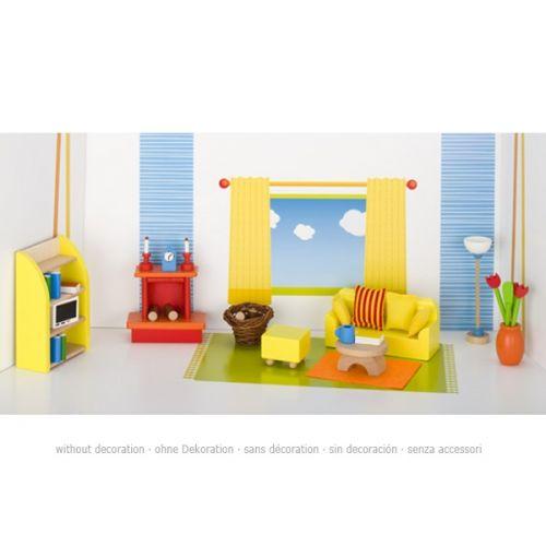 Set de 34 muebles de sala de estar para casa de muñecas, de Goki