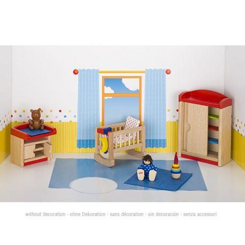 Set de 12 muebles de habitación de bebé para casa de muñecas, de Goki