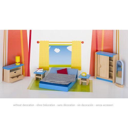 Set de 16 muebles de dormitorio de matrimonio para casa de muñecas, de Goki