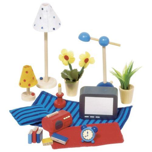 Set de accesorios de salón para casa de muñecas, de Goki
