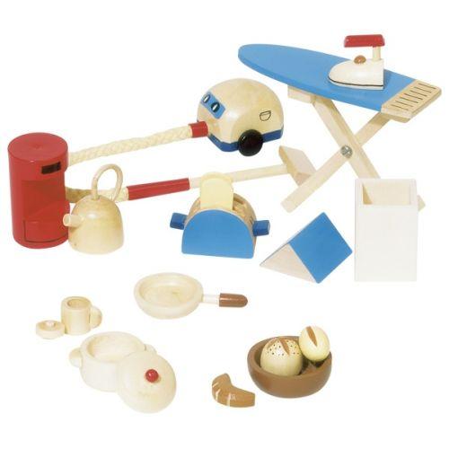 Utensilios de cocina y limpieza para casa de muñecas, de Goki