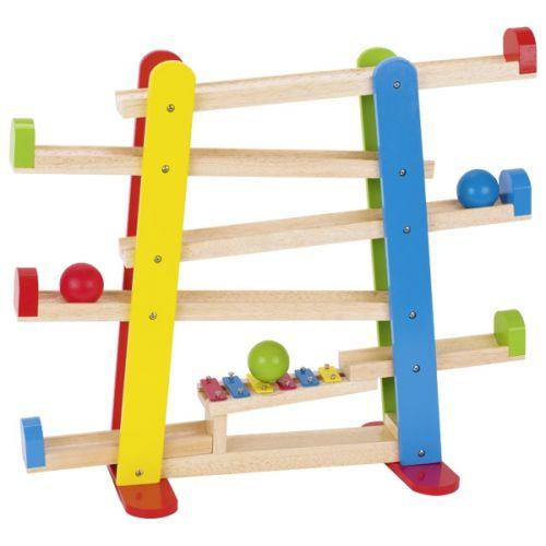 Pista de bolas colorido con xilófono de madera, de Goki