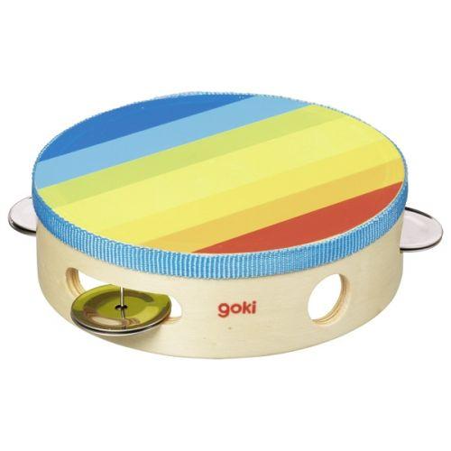 Pandereta con cascabeles multicolor, de Goki