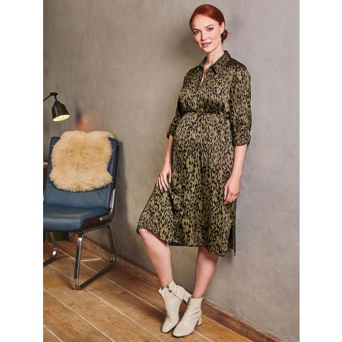 Vestido Premamá Estampado Animal Khaki