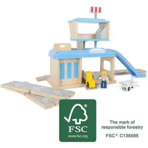 Aeropuerto de madera con Accesorios - Legler - 22 piezas