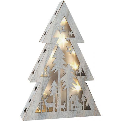 Árbol de Navidad iluminado Shabby Chic, pequeño , 26 x 5.5 x 37 cm