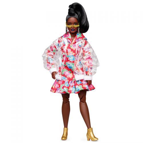 Barbie BMR 1959 Muñeca con vestido floral y Chaqueta Transparente de Vinilo