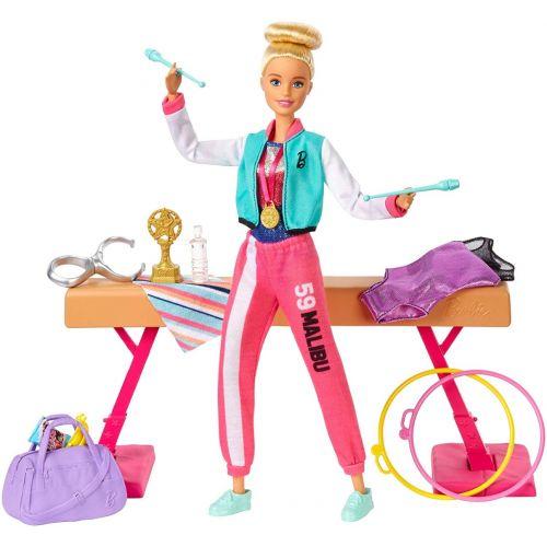 Barbie Olímpica muñeca gimnasta, barra de equilibrios de juguete y más de 15 accesorios
