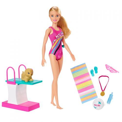 Barbie nadadora y buceadora , con trampolín y perrito