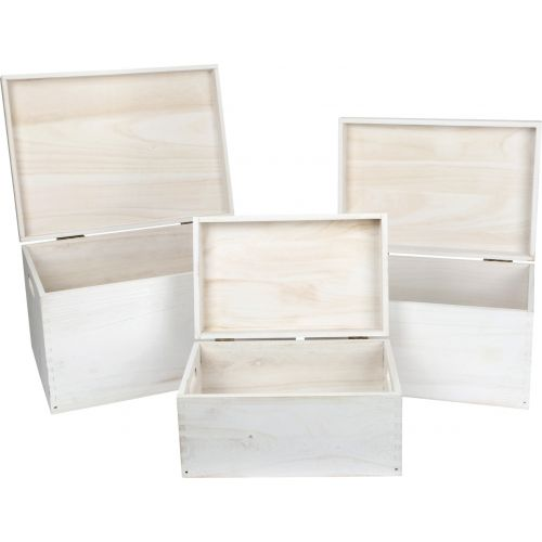 Baúl de madera blanco - Set de 3 Unidades