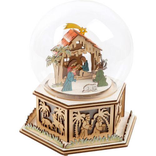 Belén bola de cristal iluminada con caja de música
