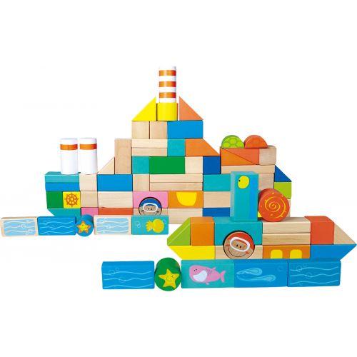 Bloques de construcción de madera Mundo Marino - 100 piezas