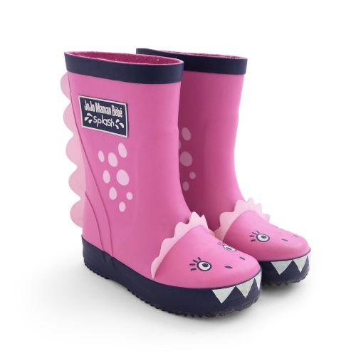 Botas de Agua Rosas para Niña Dinosaurio - Fabricadas en caucho