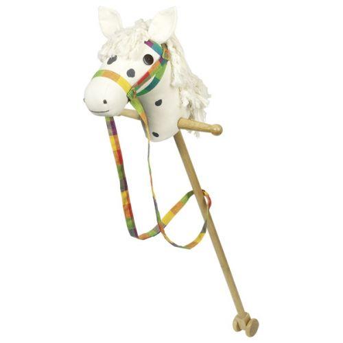 Caballito de palo Blanco con Cabeza de tela