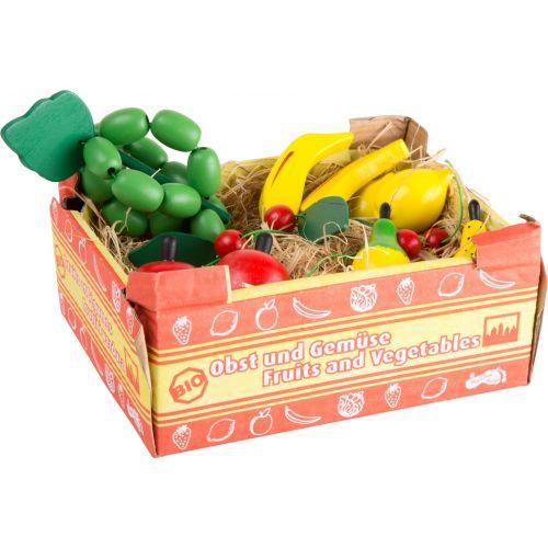 Caja de cartón con Frutas de madera , 11 piezas