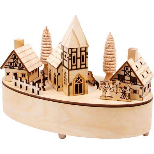 Caja musical de madera Pequeño Pueblo , 21 x 10 x 15 cm