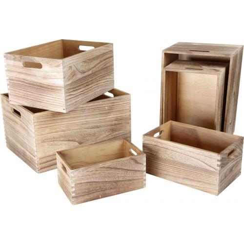 Cajas de madera en color Natural - Set de 6 Unidades