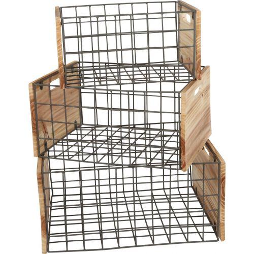 Cajas de madera con rejilla para Decoración y Almacenamiento - 3 Unidades