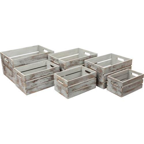 Cajas de madera Vintage Gris, 6 unidades