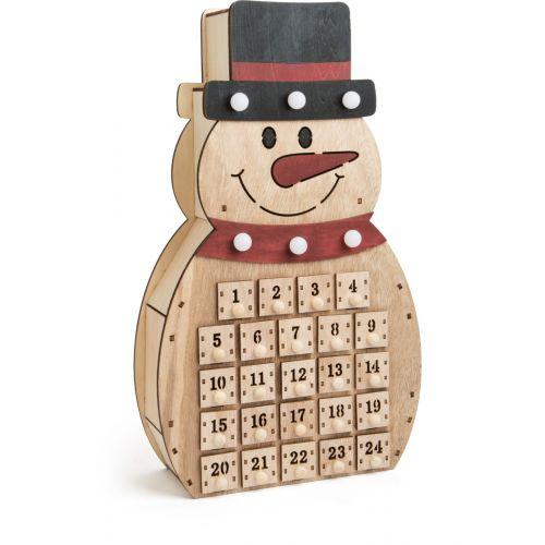 Calendario de adviento de madera Muñeco de Nieve
