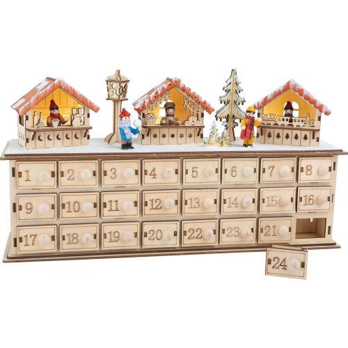 Calendario de Adviento en madera Bazar Navideño