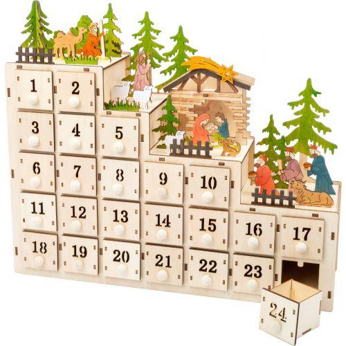 Calendario de Adviento de Madera Pesebre de Navidad , con luz