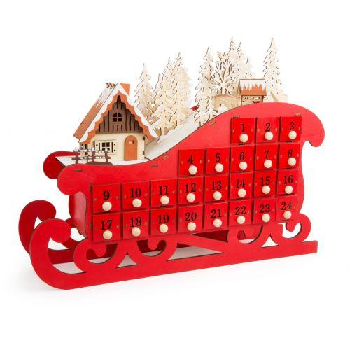 Calendario de adviento de madera Trineo Rojo