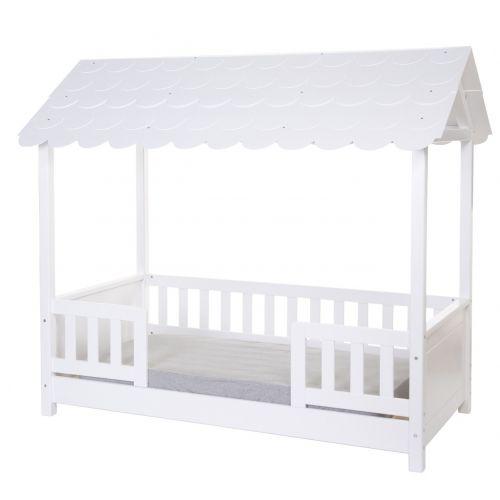 Cama Infantil con Techo 70 x 140 cm + 2 Barreras de seguridad - Madera Blanca - Childhome