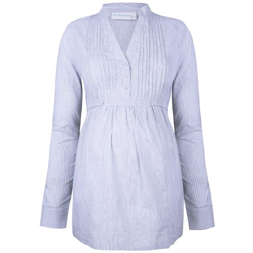 Camisa Premamá a Rayas Azules y Blancas