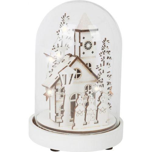 Campana brillante Pueblo de invierno , madera y vidrio