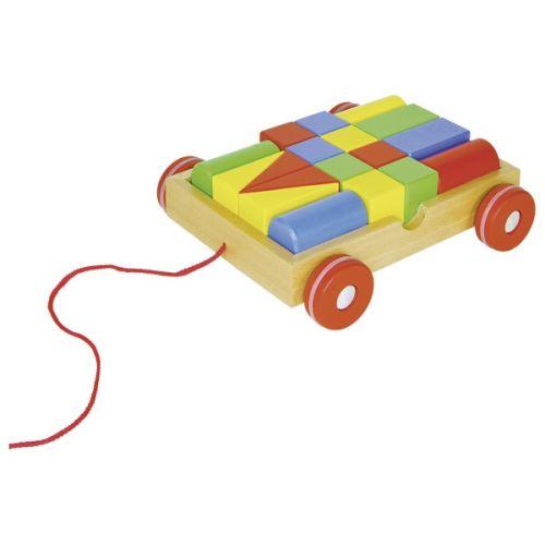 Carrito de arrastre colorido Goki ,  con 18 piezas de construcción