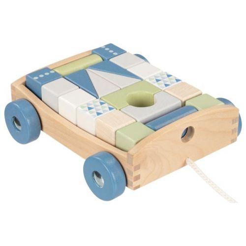 Carrito de arrastre con 20 piezas de construcción Lifestyle Aqua , Goki