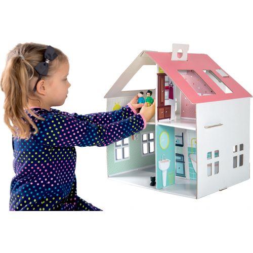 Casa de muñecas de cartón para pegar - 40 x 21 x 44 cm