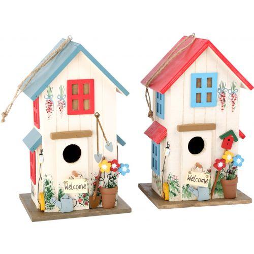 Casa para pájaros Villa Kunterbunt - Dimensiones 15 x 13 x 25 cm - 2 Unidades