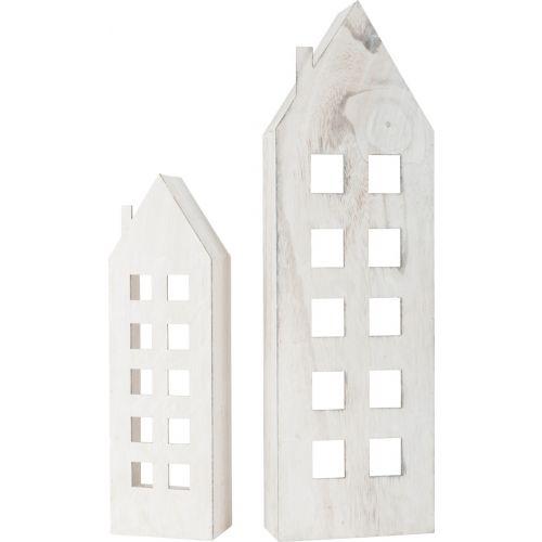 Casa de luz discreta, Decoración Navideña, madera , 2 unidades