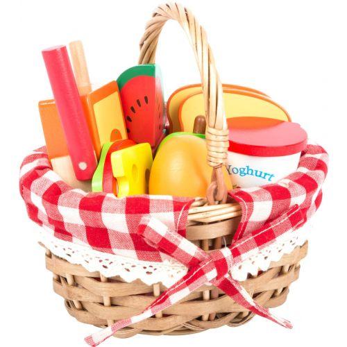 Cesta de pícnic con alimentos cortables , 17 piezas