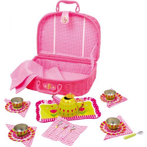 Cesta de picnic Flower - Incluye juego de té