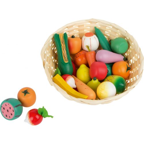 Cesta de frutas y verduras de juguete , 25 piezas