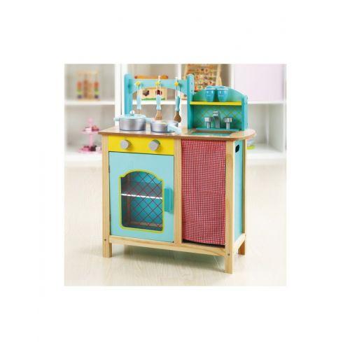 Cocina de madera Azul , Andreu Toys , incluye Utensilios