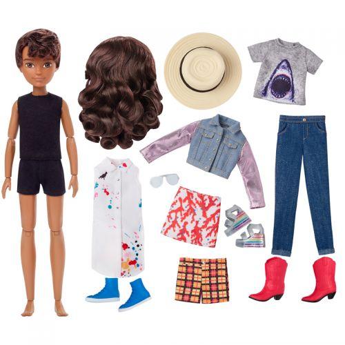 Creatable World Figura Unisex, muñeco con pelucas castañas