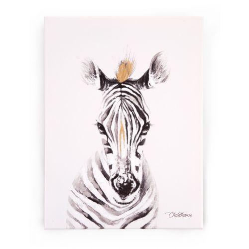 Cuadro Pintura al óleo Cebra - Dorado - 30 x 40 cm , Childhome