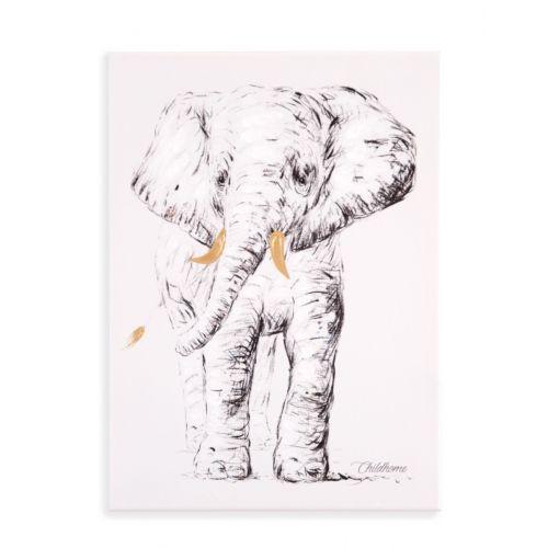 Cuadro de pintura al óleo Elefante 30 x 40 cm , Childhome
