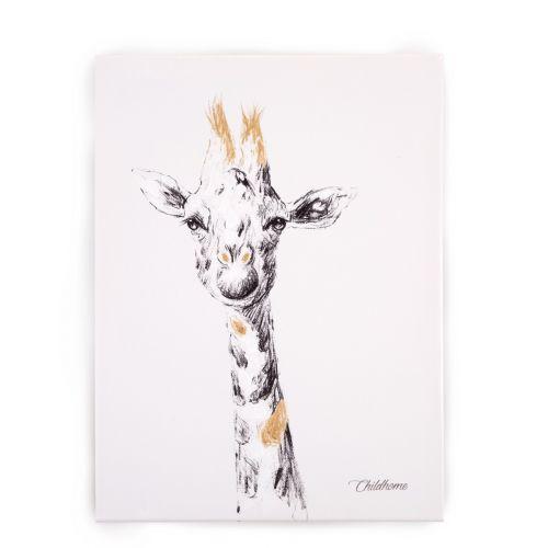 Cuadro Pintura al óleo Jirafa , 30 x 40 cm , Childhome