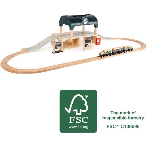 Estación de Trenes de Madera con Accesorios - 31 piezas